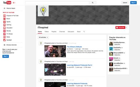 Screenshot of YouTube Page youtube.com - ITinspired  - YouTube - captured Oct. 23, 2014