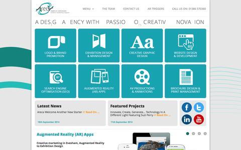 Screenshot of Home Page Menu Page arecadesign.co.uk - Web Design I Website Design I Internet Marketing I Search Engine Optimisation (SEO) I Graphic Design I Exhibition Design I Augmented Reality - captured Sept. 30, 2014