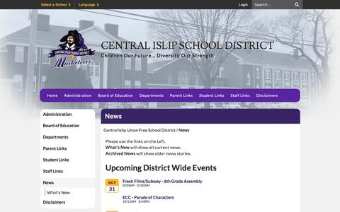 Screenshot of Press Page centralislip.k12.ny.us - News - Central Islip Union Free School District - captured Oct. 31, 2016