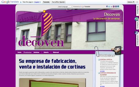 Screenshot of Home Page decoven.net - DECOVEN FABRICACIÓN, VENTA E INSTALACIÓN DE CORTINAS INTERIORES Y TÉCNICAS | Sevilla - captured Sept. 30, 2014