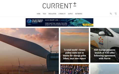 Screenshot of Home Page current-news.co.uk - Current News | Tracking the transition to a decarbonised, digitised and decentralised energy economy - captured Nov. 3, 2018