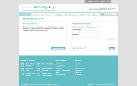 Screenshot of Login Page circuitgallery.com - Customer Login - captured Sept. 29, 2014