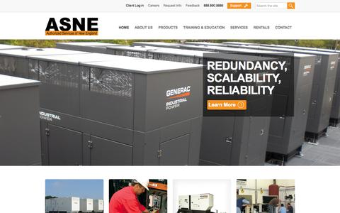 Screenshot of Home Page asne.com - Authorized Generac Generator Dealer & Fuel Conditioning in MA, RI, NH, MA & VT - ASNE - captured Oct. 4, 2014