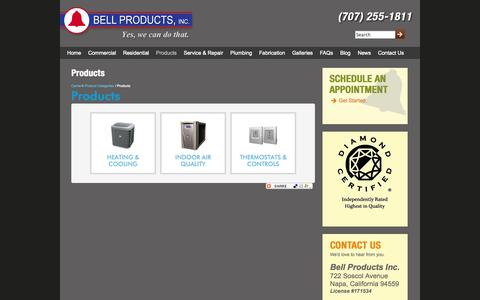 Screenshot of Products Page bellproducts.com - Products | Bell Products - captured Oct. 5, 2014