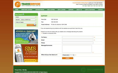 Screenshot of Support Page tradesservices.com.au - Support for Tradesmen - captured Oct. 30, 2014