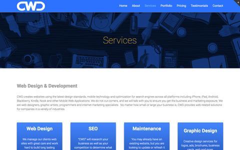 Screenshot of Services Page carolswebdesigninc.com - Maryland Web Design Development Website Designer - captured March 3, 2016