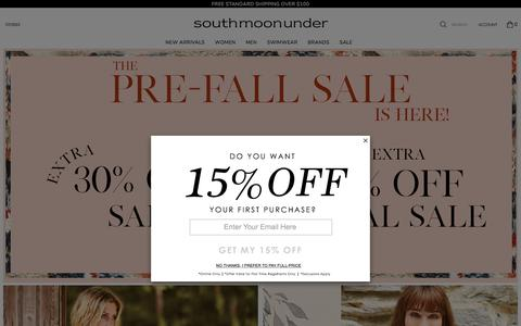 Screenshot of Home Page southmoonunder.com - South Moon Under | The Fall Lookbook is Here - captured Sept. 21, 2018