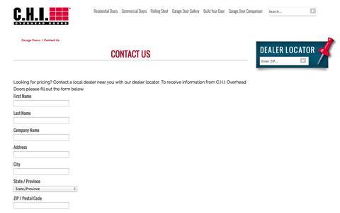 Screenshot of Contact Page chiohd.com - Garage Door Contact Us - captured Sept. 23, 2014