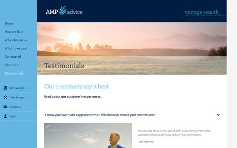 Screenshot of Testimonials Page amp.com.au - Client Testimonials - Vintage Wealth - captured Oct. 27, 2017