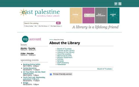Screenshot of About Page east-palestine.lib.oh.us - About the Library | East Palestine Memorial Public Library - captured June 18, 2016