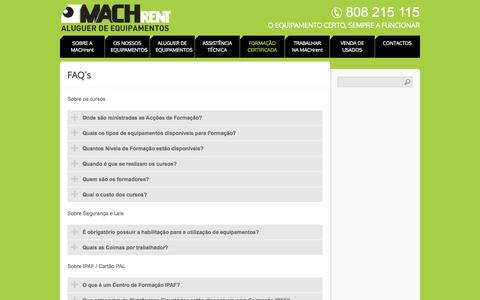 Screenshot of FAQ Page machrent.pt - FAQ's | MACHrent - captured Oct. 3, 2014