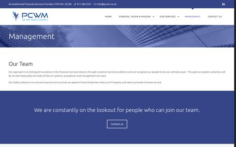 Screenshot of Team Page pcwm.co.za - Management – PCWM | Personal and Corporate Wealth Management - captured Sept. 27, 2018