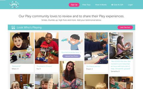 Screenshot of Testimonials Page pley.com - Pley reviews |  Pley | Rent the coolest toys including LEGO®, American Girl and other amazing toys - captured Feb. 10, 2016