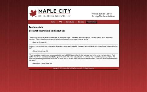 Screenshot of Testimonials Page maplecitybuildingservices.com - Testimonials - captured Oct. 27, 2014