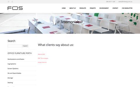 Screenshot of Testimonials Page freibergofficesolutions.com - Office furniture Perth, Office Fitout solutions Perth by Freiberg Office Solutions :: Testimonials - captured Feb. 10, 2016