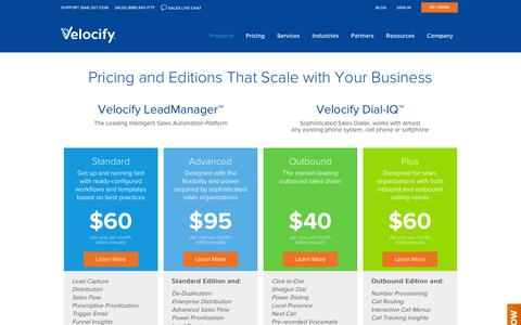 Screenshot of Pricing Page velocify.com - Velocify Pricing for LeadManager and Dial-IQ - captured Dec. 11, 2015