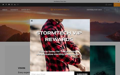 Screenshot of About Page stormtech.ca - Company Values - Stormtech Canada Retail - captured Sept. 23, 2018