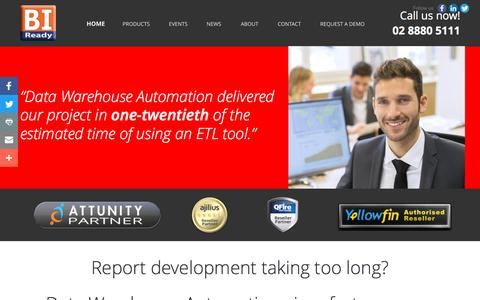 Screenshot of Home Page biready.com.au - Data Warehouse Automation | BIReady Australia - captured Nov. 18, 2016