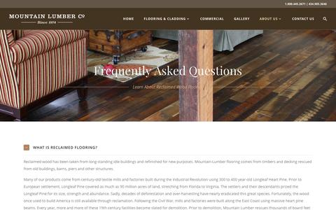 Screenshot of FAQ Page mountainlumber.com - Frequently Asked Questions | Mountain Lumber Company - captured Nov. 22, 2016