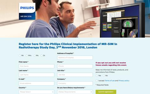 Screenshot of Landing Page philips.com - Philips Clinical Implementation of MR-SIM in Radiotherapy: A Study Day - captured Oct. 29, 2016