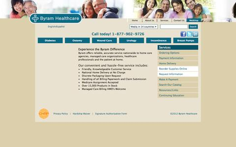 Screenshot of Services Page byramhealthcare.com - Medical supply service to home care agencies, managed care organizations, healthcare professionals and the patient at home | Byram Healthcare - captured Sept. 30, 2014