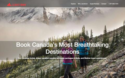 Screenshot of Home Page leavetown.com - LeaveTown.com Premium Family Vacation Rentals in the Canadian Outdoors - captured Sept. 20, 2015