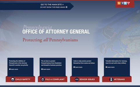 Screenshot of Contact Page attorneygeneral.gov - Pennsylvania Office of Attorney General - captured Oct. 5, 2016