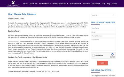 Screenshot of Trial Page utahdivorcehotline.com - Utah Divorce Trial Attorney   Salt Lake City Family Law Lawyer - captured Dec. 10, 2018