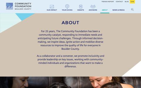 Screenshot of About Page commfound.org - About   The Community Foundation - captured Nov. 30, 2016