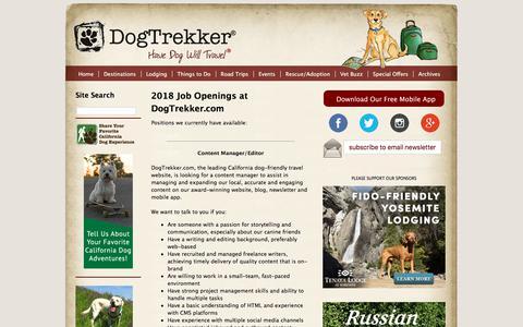 Screenshot of Jobs Page dogtrekker.com - Jobs-at-DogTrekker.com - captured Sept. 24, 2018