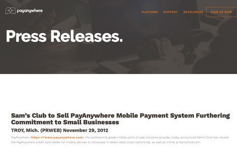 Screenshot of Press Page payanywhere.com - Sam's Club to Sell PayAnywhere Mobile Payment System Furthering Commitment to Small Businesses | PayAnywhere - captured Sept. 28, 2018