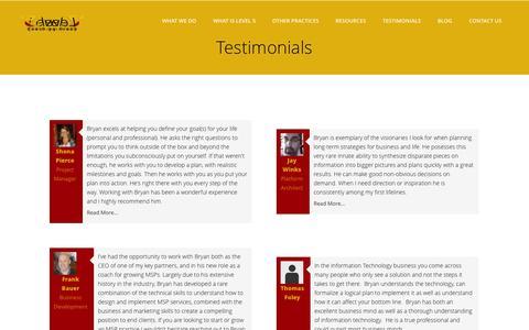 Screenshot of Testimonials Page lvl-5.com - Level 5 Coaching Group | Testimonials - captured Oct. 2, 2014