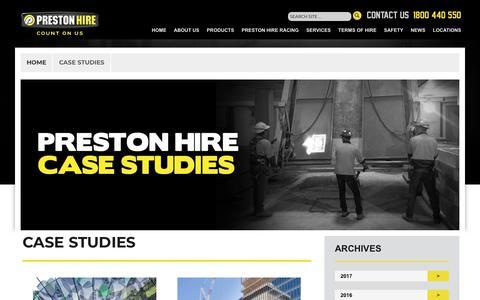Screenshot of Case Studies Page prestonhire.com.au - Case Studies - captured June 13, 2018