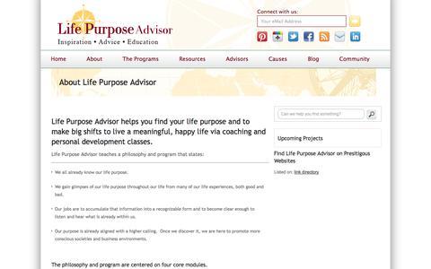 Screenshot of About Page lifepurposeadvisor.com - About Life Purpose Advisor - captured Sept. 30, 2014