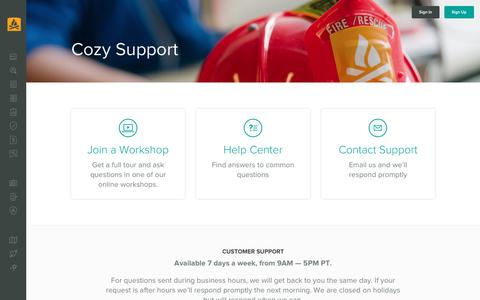 Screenshot of Support Page cozy.co - Cozy Help Center - captured June 18, 2018