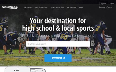 Screenshot of Home Page scorestream.com - ScoreStream - Your destination for High School and local sports - ScoreStream - captured Sept. 19, 2018