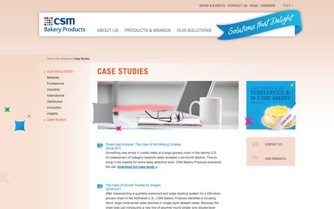 Screenshot of Case Studies Page csmbakeryproducts.com - CSM Bakery Products - Case Studies - captured Nov. 1, 2014