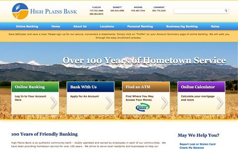 Screenshot of About Page Privacy Page Team Page Locations Page highplainsbank.com - High Plains Bank - captured Oct. 22, 2014