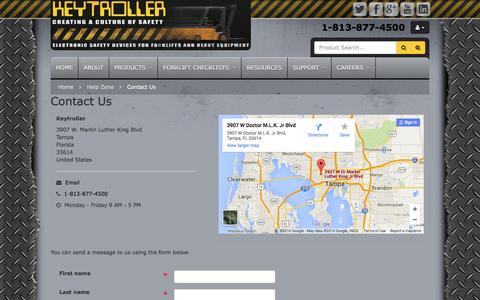 Screenshot of Contact Page keytroller.com - Help Zone :: Contact Us - captured Feb. 12, 2016