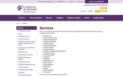 Screenshot of Services Page christusstmichael.org - Services - captured April 14, 2017