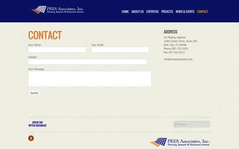 Screenshot of Contact Page presassociates.com - Contact - captured Dec. 6, 2015