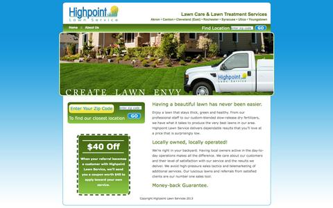 Screenshot of Home Page hplawn.com - Local Lawn Care Services | Lawn Maintenance New York | Lawn Treatment Ohio - captured Oct. 2, 2014
