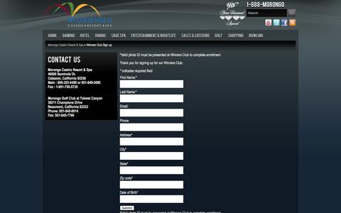 Screenshot of Signup Page morongocasinoresort.com - Winners Club Sign up | Morongo Casino Resort & Spa - captured Sept. 23, 2014