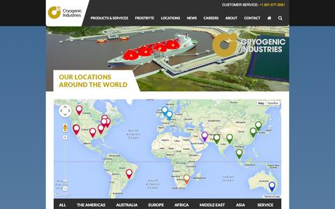 Screenshot of Locations Page cryoind.com - Locations | Cryogenic Industries - captured Nov. 2, 2014