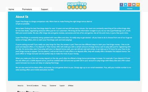 Screenshot of About Page superfreebingo.com - About Us - Super Free Bingo — Super Free Bingo - captured Aug. 16, 2016