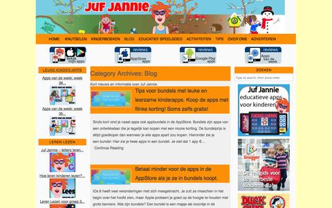 Screenshot of Blog jufjannie.nl - Blog - Juf Jannie apps voor kinderen - captured Sept. 22, 2014