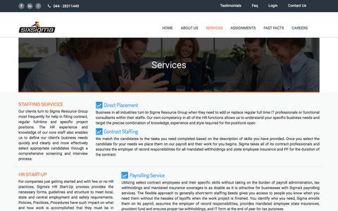 Screenshot of Services Page 6sos.com - six sigma - captured Nov. 14, 2016