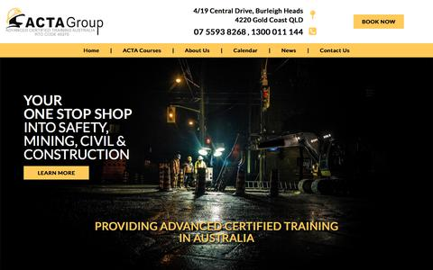 Screenshot of Home Page actagroup.com.au - Mining Courses | Mining Training | ACTA Group Australia - captured July 28, 2018