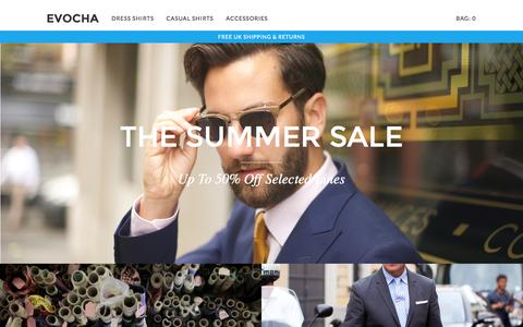 Screenshot of Home Page evocha.com - Evocha | Men's Dress & Casual Shirts - captured Sept. 16, 2014