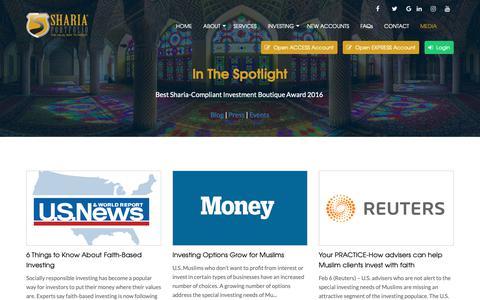 Screenshot of Press Page shariaportfolio.com - In The Spotlight - Sharia Portfolio - captured Oct. 20, 2018
